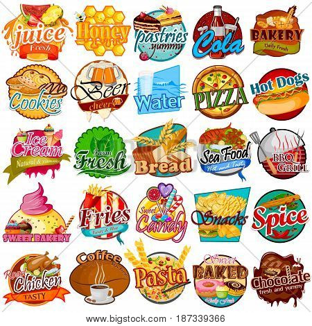 vector illustration of label and tag sticker for different Food item like juice, honey, bakery, bread, ice cream, fries, coffee