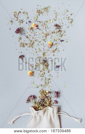 Tea Time. Dry Herbal Floral Tea On The Gray Background