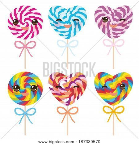 Kawaii colorful Set candy lollipops with bow, spiral candy cane. Candy on stick with twisted design on white background. Vector illustration