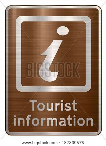 tourist information sign brown  visitors  road sign