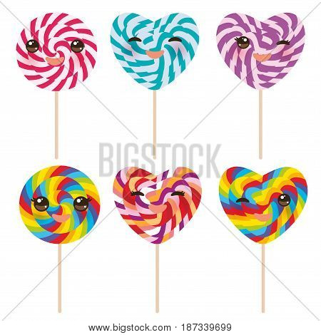 Kawaii Heart shaped candy lollipop with pink cheeks and winking eyes, colorful spiral candy cane. Candy on stick with twisted design on white background. Vector illustration