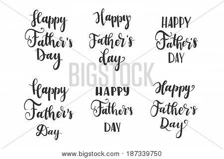 Set Happy Fathers Day greeting card. Vector illustratin  background. Calligraphy banner. Use for posters, covers, flyers, postcards, banner designs