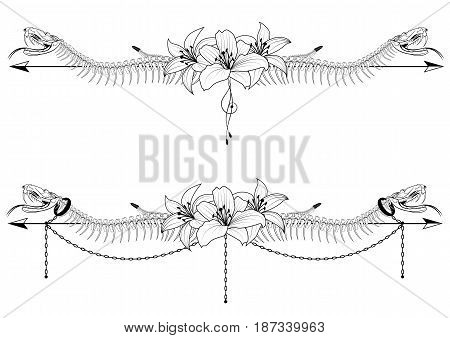 set of vector dividers with skeleton of snake and lilies in black and white