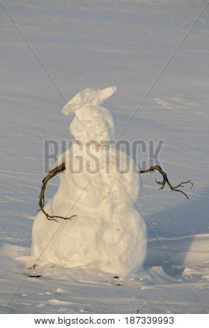 Snowman With Stick Arms In Open Meadow In Grand Teton National Park In Winter