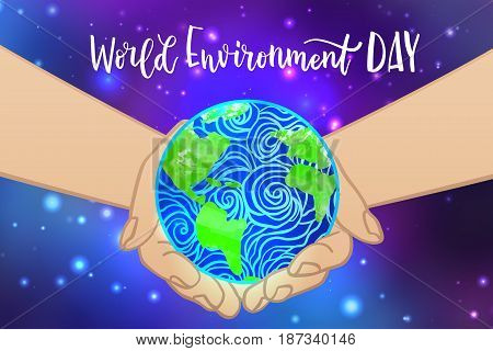 Earth day concept. Save planet. World environment day lettering inscription background. Vector illustration.