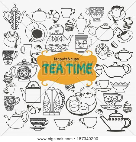 Hand drawn set of tea objects on white background. Tea time icon set Tea tableware tea cups mugs.