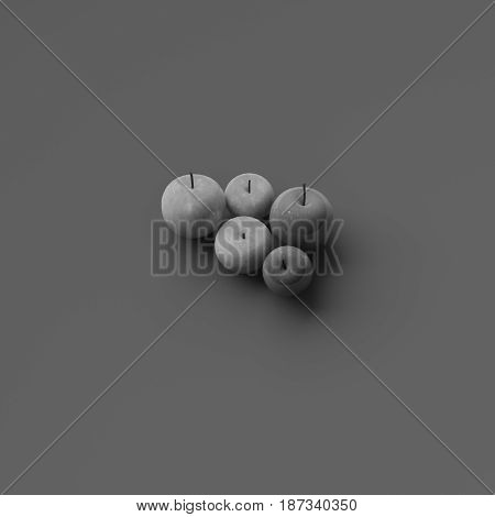 BLACK AND WHITE PHOTO OF 3D RENDERING OF RED AND GREEN APPLES ON PLAIN BACKGROUND