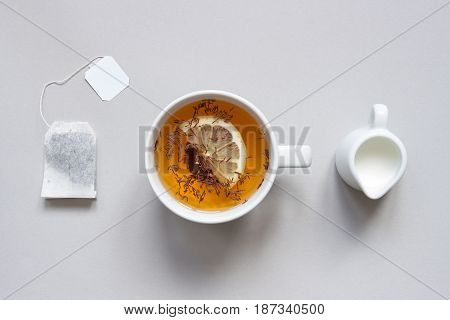 Tea Time. Cup Of Hot Black Tea On The Blue Background, Top View