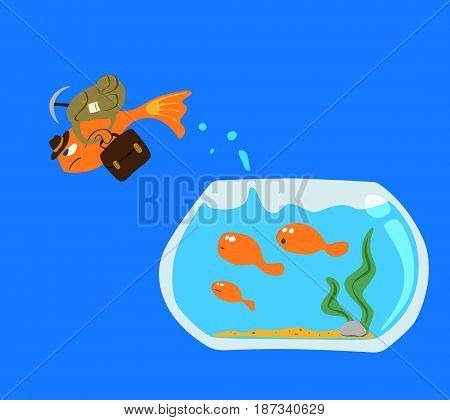Goldfish Jump out of the fish bowl isolated on blue screen