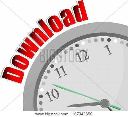 Text Download. Web Design Concept . Color Word And Modern Clock On White