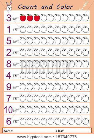 color the correct number of apples shown worksheet for kids