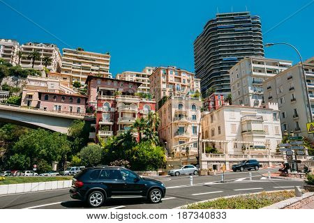 Monte-Carlo, Monaco - June 28, 2015: Movement of vehicles on street city in Monaco, Monte Carlo.