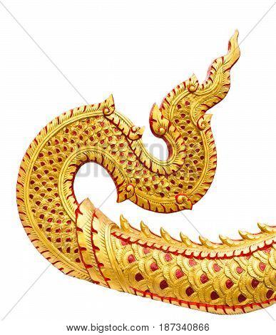 Traditional Thai style pattern of trail great Naga stucco isolated on white background in temple at Thailand.