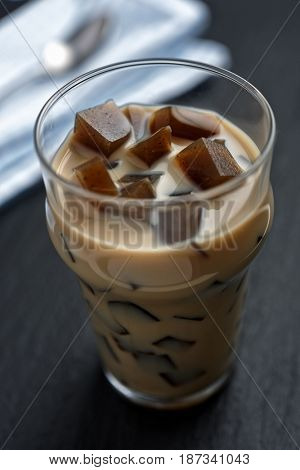 Coffee with jelly in a glass