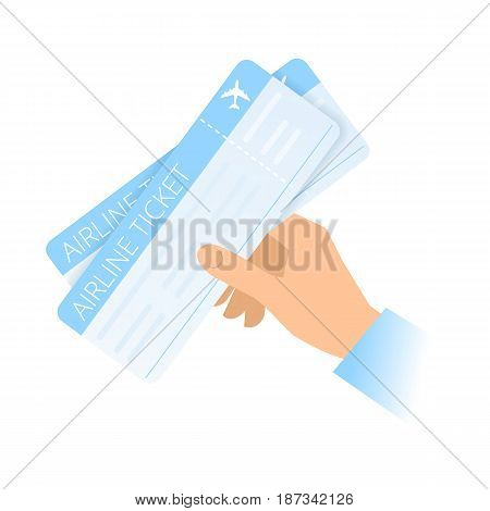 A human hand holds an airline tickets. Air travel and tourism Purchase of tickets flat concept illustration. Vector material design element isolated on white background.