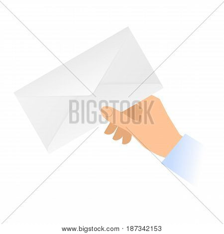 A human hand holds a paper envelope. Mail message correspondence flat concept illustration. Vector material design element isolated on white background.