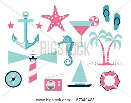 Vector flat illustration icon set of sea: anchor, starfish, cocktail, flip flops, compass, lighthouse, radio, sea horse boat lifeline