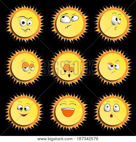 Sun Smile Icon Set Isolated on Black Background. illustration. Set Of Sun Smile Emotion Icons with Shadows. Set of Sun.