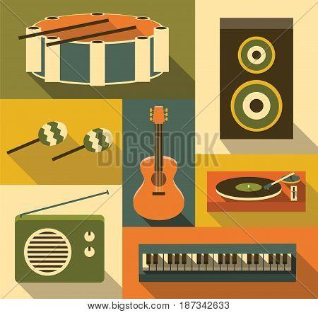 Vector flat illustration, icon set of music: drum, speaker, maracas, guitar turntable radio piano