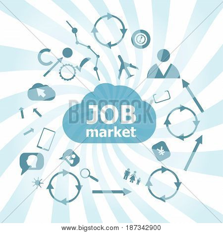Text Job Market. Business Concept . Set Of Web Icons For Business, Finance And Communication