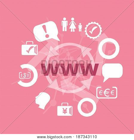 Text Www. Web Design Concept . Icons Set. Flat Pictogram. Sign And Symbols For Business, Finance, Sh