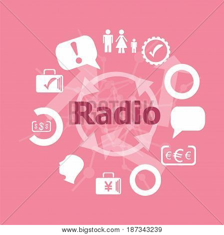 Text Radio. Business Concept . Icons Set. Flat Pictogram. Sign And Symbols For Business, Finance, Sh
