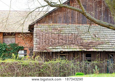 A Old roof from a dilapidated barn in thuringia