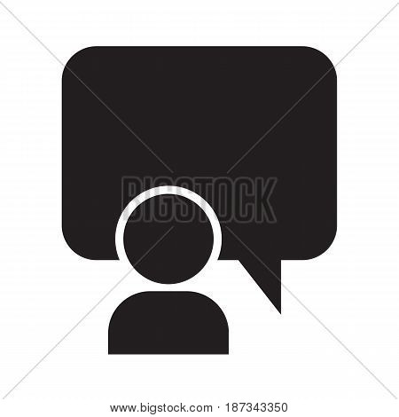person and talking balloon icon vector illustration design