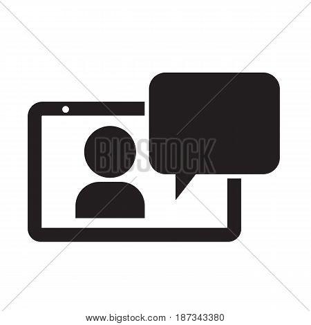 tablet chat icon vector illustration design web