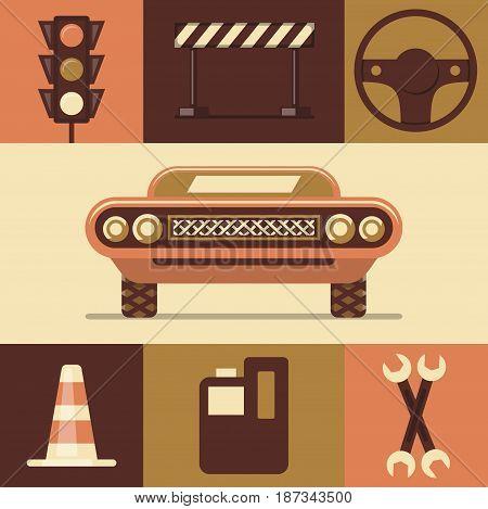 Vector flat illustration, icon set of car, traffic light, danger, steering wheel, traffic cone, fuel repair