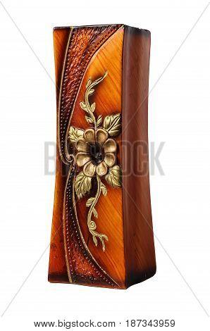 Brown decorative vase for flowers isolated on white background. Ceramic vase.