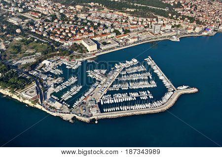 City Marine in Split Adriatic town in Croatia aeral view