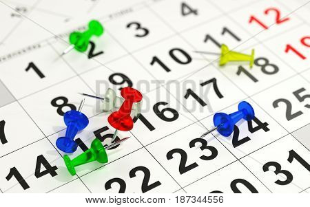 Red pin marking the 15th on a calendar. 3D rendering.