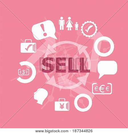 Text Sell. Business Concept . Set Of Flat Icons For Mobile App And Web