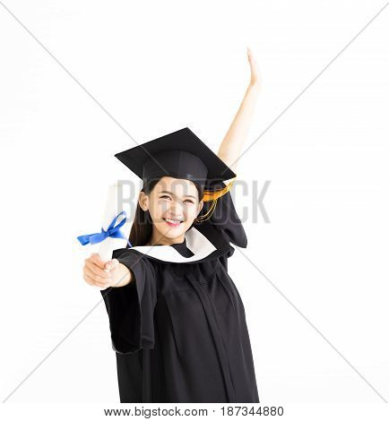 happy Graduate asian woman showing the diploma