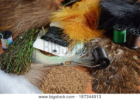 The set of tools and materials for flyfishing