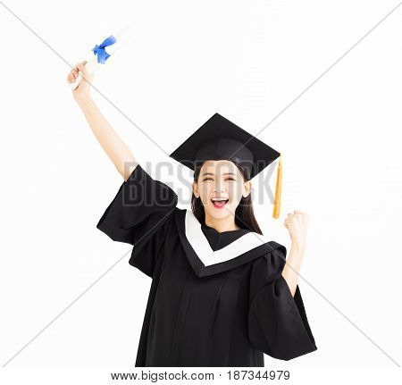 happy asian Graduate woman showing the diploma