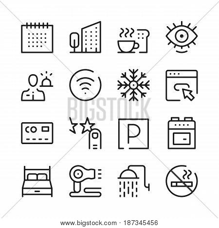Hotel services and hotel facilities line icons set. Modern graphic design concepts, simple outline elements collection. Vector line icons