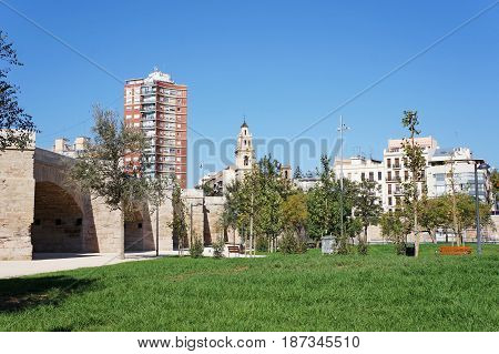 urban landscape courtyard in catalonia summer day