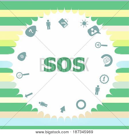 Text Sos. Social Concept . Infographics Icon Set. Icons Of Maths, Graphs, Mail And So On.
