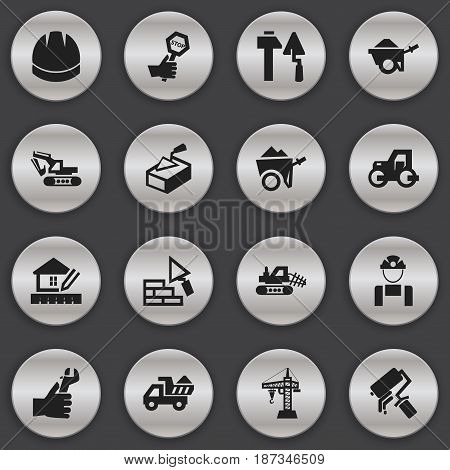 Set Of 16 Editable Construction Icons. Includes Symbols Such As Employee , Spatula , Handcart. Can Be Used For Web, Mobile, UI And Infographic Design.