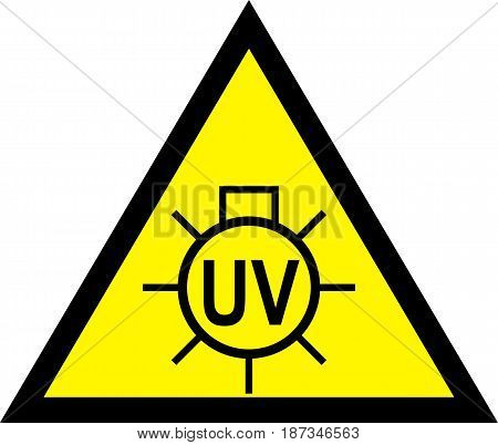 Caution UV light Do Not Look. Warning Sign. Vector