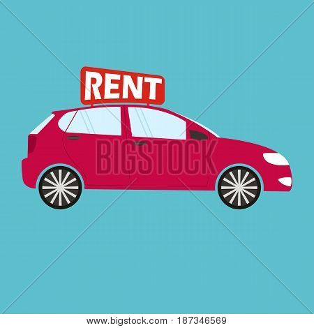 Vector car rental or sale concept in flat style - red car