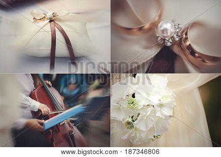 Four in one pictures of wedding rings and decor elements