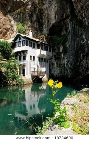 Famous dervish house in Blagaj Buna, near to Mostar in Bosnia and Herzegovina poster