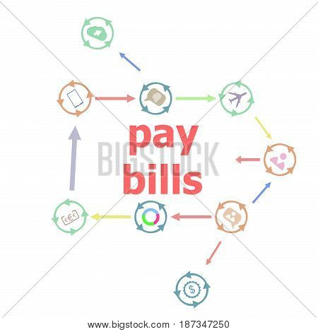 Text Pay Bill . Business Concept . Linear Flat Business Buttons. Marketing Promotion Concept. Win, A