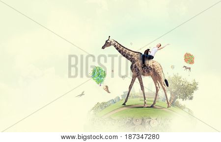 Girl saddle giraffe . Mixed media . Mixed media