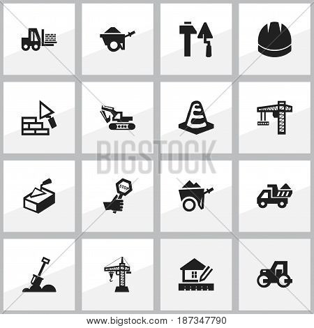 Set Of 16 Editable Structure Icons. Includes Symbols Such As Oar, Facing, Excavation Machine And More. Can Be Used For Web, Mobile, UI And Infographic Design.
