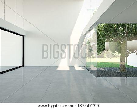 3d rendering. empty loft apartment with atrium and tree.