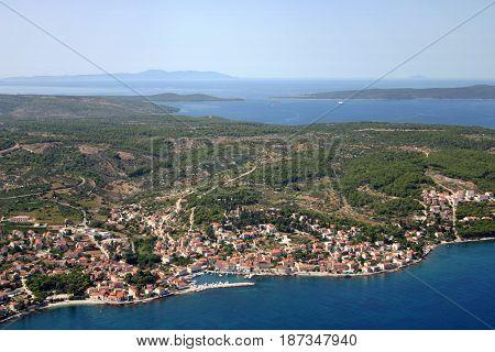 Sutivan village on the north-west of Brac Island Croatia aerial view